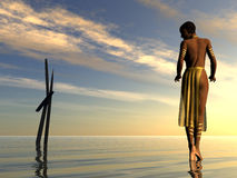 Black Woman Walking on Beach. Black woman walking ona calm clean  beach at sunset. Sticks coming out of the water make a unique design. Illustration Stock Image