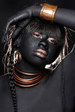 Black Woman Wearing Tribal Inspired Fashion Stock Photo