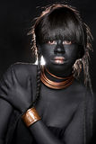 Black Woman Wearing Tribal Inspired Fashion royalty free stock images