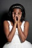 Black woman in wedding dress Stock Image