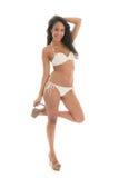 Black woman in white bikini Royalty Free Stock Images