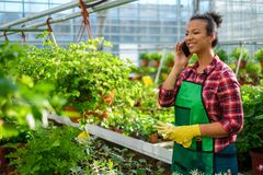 Black woman working in a botanical garden. African american working in a botanical garden royalty free stock images