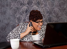 Black woman working from home Royalty Free Stock Image