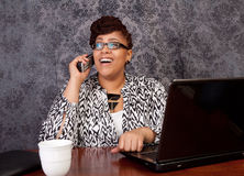Black woman working from home Royalty Free Stock Photo