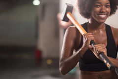 Black woman after workout with hammer Stock Photos
