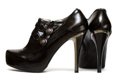 Black womanish shoes Royalty Free Stock Photo