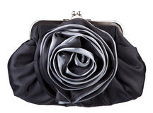 Black womans handbag. Isolated on white Royalty Free Stock Photography