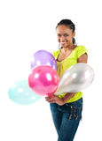 Black women with the balloons Stock Photos