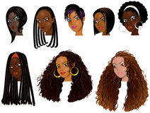 Black Women Faces 2. Vector Illustration of Black Women Faces. Great for avatars, makeup, skin tones or hair styles of African women Vector Illustration