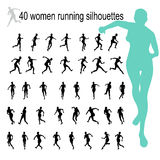 40 black women running silhouettes Stock Image
