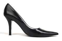 Black Women's High-Heel Shoe. Side shot of one black women's high-heel dress shoe against white background Stock Image