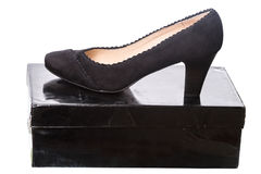 Black women's shoes on a box Royalty Free Stock Photography