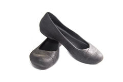 Black, women's shoes on a white. Background Royalty Free Stock Images