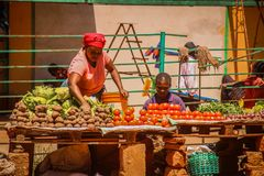 Black women sell vegetables: potatoes, cabbage and tomatoes at the African street market royalty free stock photos