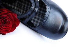 Black women shoe with a red rose. Fragment of black women shoes with a red rose on a white background Royalty Free Stock Image