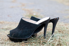 Black women shoes from shammy leather Royalty Free Stock Photo