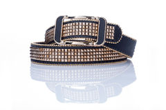 Black women style belt with metal rivets Royalty Free Stock Images