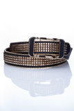 Black women style belt with metal rivets Stock Images