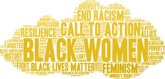 Black Women Word Cloud. On a white background Royalty Free Stock Image