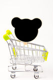 Black wood clip and shopping cart Royalty Free Stock Images