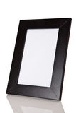 Black wood frame with reflexion on white background Royalty Free Stock Photography
