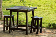 Black wood Table and chair Royalty Free Stock Image