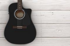Black Wooden Acoustic Guitar. 3d Rendering. Black Wooden Acoustic Guitar on a wooden table. 3d Rendering Stock Photo