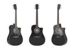 Black Wooden Acoustic Guitar. 3d Rendering. Black Wooden Acoustic Guitar on a white background. 3d Rendering Royalty Free Stock Photos