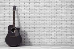 Black Wooden Acoustic Guitar. 3d Rendering. Black Wooden Acoustic Guitar in front of brick wall. 3d Rendering Stock Image