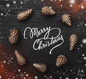 Black wooden background with the texture highlighted with golden cones in the shape of a circle on it. With the effect of snowflakes and light blips. Top view Stock Image