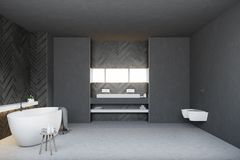 Black wooden bathroom and toilet, round tub. Black bathroom interior with a white double sink with a long horizontal mirror and a round tub. Two toilets. 3d royalty free illustration