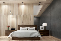Black and wooden bedroom, mirror Royalty Free Stock Photos