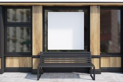 Black and wooden cafe facade, poster, bench. Black and wooden cafe exterior with a square poster in the window and a metal bench standing under it. 3d rendering Stock Images