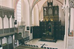 Black Wooden Church Altar Royalty Free Stock Photo