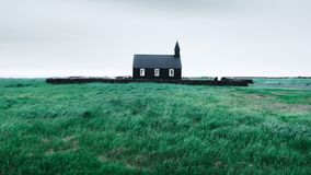 Black wooden church Budakirkja. At Snaefellsnes, western Iceland, Europe Royalty Free Stock Images