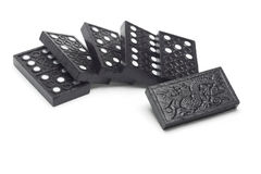 Black wooden domino blocks Royalty Free Stock Photos