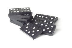 Black wooden domino blocks Stock Photo