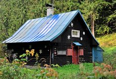 Black wooden house in the forest. Slovakia royalty free stock photos