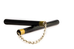 Black nunchaku nunchucks isolated on white Royalty Free Stock Photography