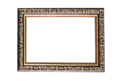 Black wooden photo frame isolated white background. Wooden photo frame isolated white background Royalty Free Stock Image