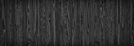 Black wooden planks, a panorama of the wood texture with natural Royalty Free Stock Photos