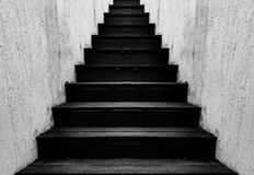 Black wooden stair Stock Photo