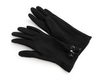 Black wool gloves Royalty Free Stock Photos