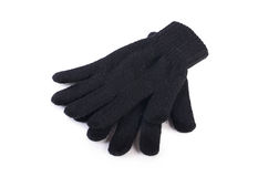 Black woolen gloves isolated on white Royalty Free Stock Images