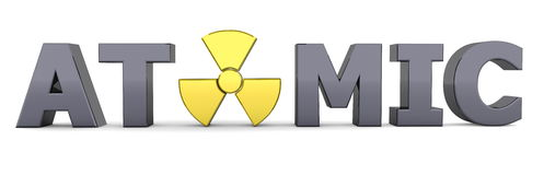 Black Word Atomic - Yellow Nuclear Symbol Stock Photos
