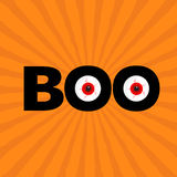 Black word BOO text with red eyes. Evil eyeballs. Happy Halloween. Greeting card. Flat design. Orange starburst sunburst  Royalty Free Stock Photo