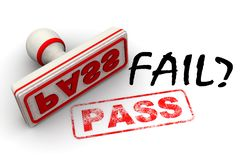 Fail? No, pass. Seal and imprint. Black word FAIL? and red rubber stamp and print PASS on white surface. Isolated. 3D Illustration stock illustration
