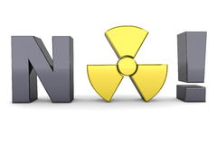 Black Word NO! - Yellow Nuclear Symbol Royalty Free Stock Photos