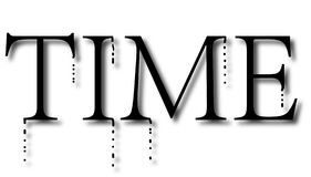 Black word `time`is melting, time is running out background. Word `time`is melting, time is running out, treasure time royalty free illustration