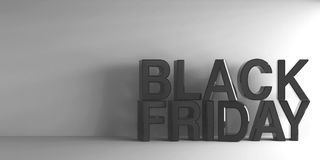 Black words Black Friday. On grey background, three-dimensional rendering, 3D illustration Stock Illustration